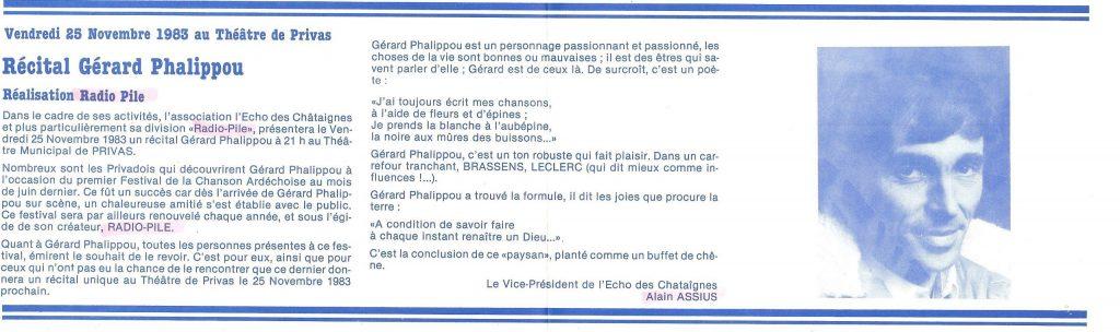 Récital Gérard PHALIPPOU Théâtre de PRIVAS par Radio PILE. Article de Faut Voir, le journal informations Culturelles du Conseil général Ardèche.