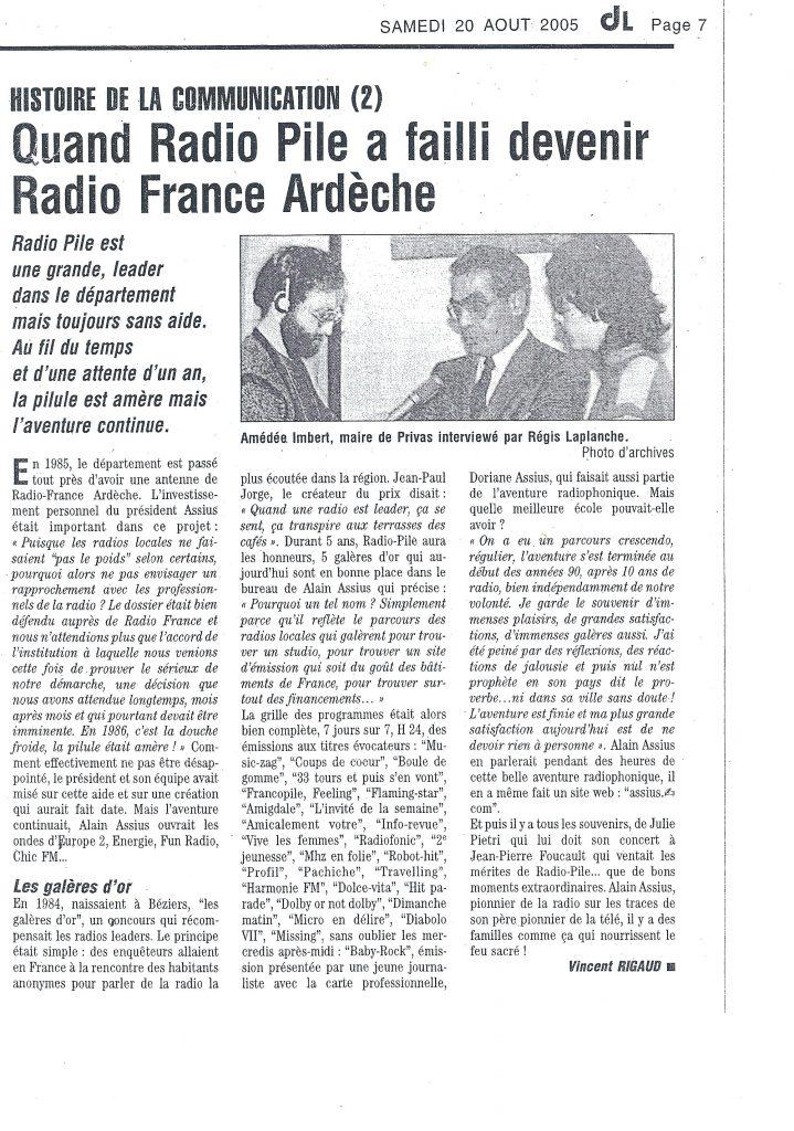 Quand Radio Pile à failli devenir Radio France Ardèche. DL du 20/08/2005