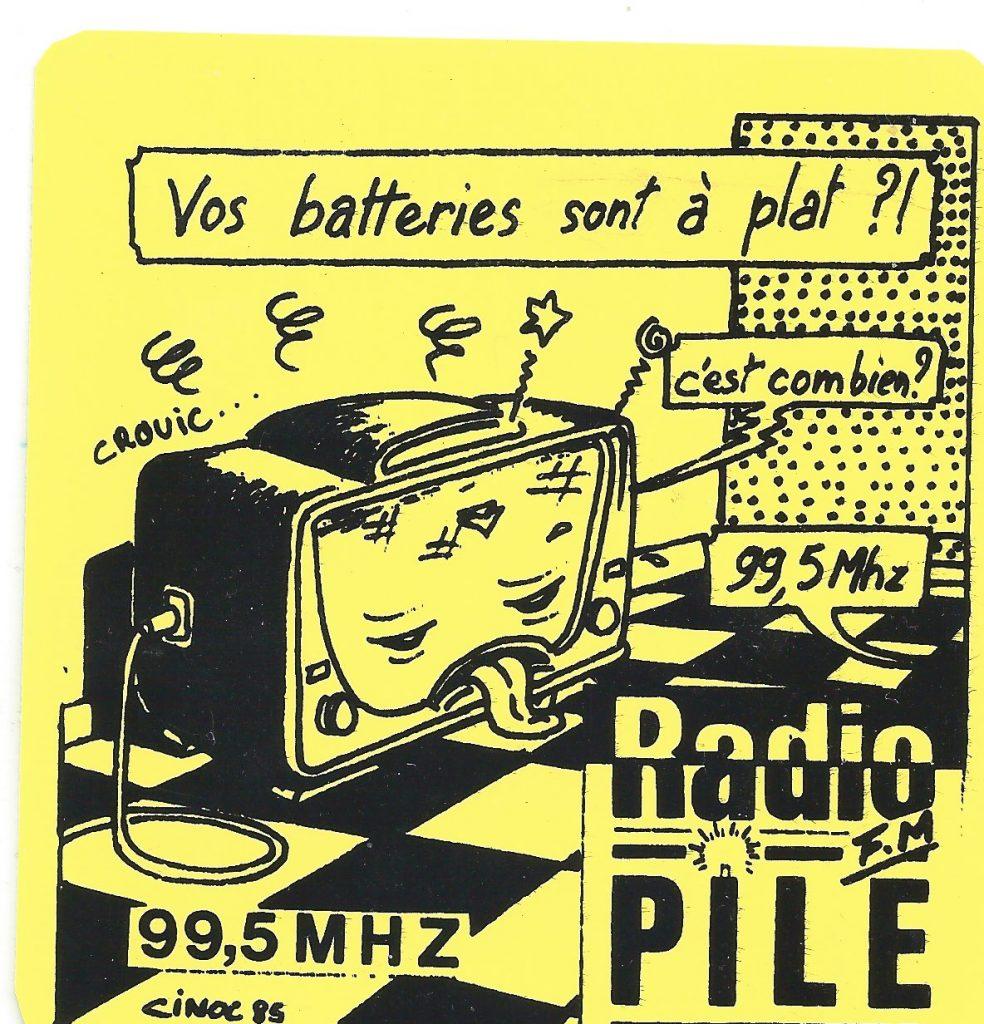 """Autocollant Radio PILE """"vos batteries sont a plat"""""""